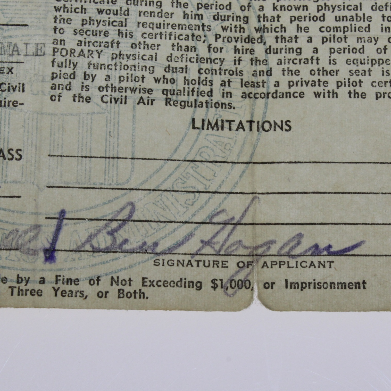 Lot detail ben hogan signed us department of commerce airman ben hogan signed us department of commerce airman certificate march 22 1943 jsa aloa 1betcityfo Images