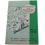 Arnold Palmer Signed 1958 Masters Spectator Guide - Arnies First Masters Win JSA ALOA