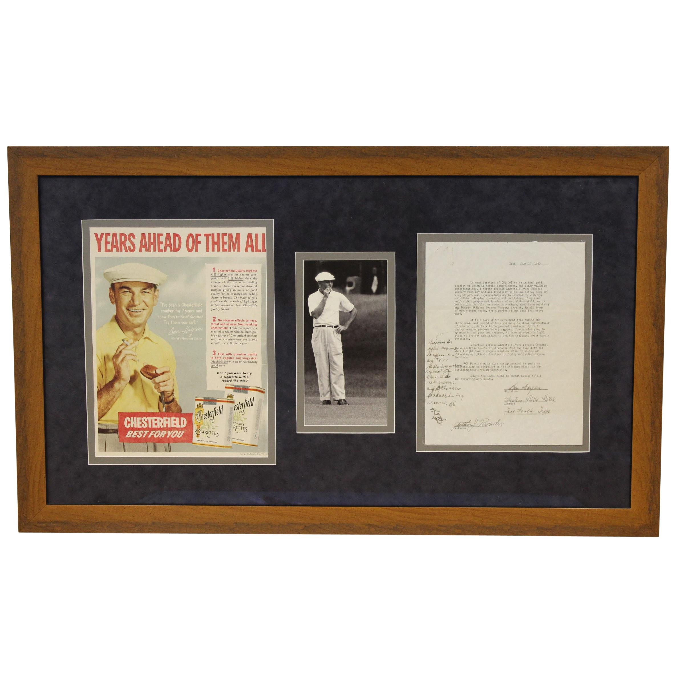 a97b1a8c454 Ben Hogan Signed June 17, 1953 Chesterfield Cigarette Original Contract  W/Handwritten Amendment ...