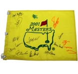 2001 Masters Champ Pin Flag Signed by 13 Champs JSA ALOA