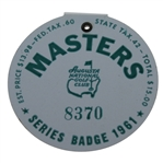 1961 Masters Tournament Badge #8370 - Gary Player Winner