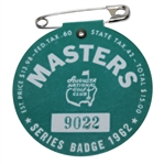 1962 Masters Tournament Badge #9022 - Arnold Palmer Winner