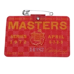 1972 Masters Tournament Badge #14982 - Jack Nicklaus Winner