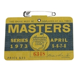 1973 Masters Tournament Badge #6348 - Tommy Aaron Winner
