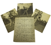 Chick Evans Signed ALS with Golf Advice Written on Reverse of Three Photos JSA ALOA