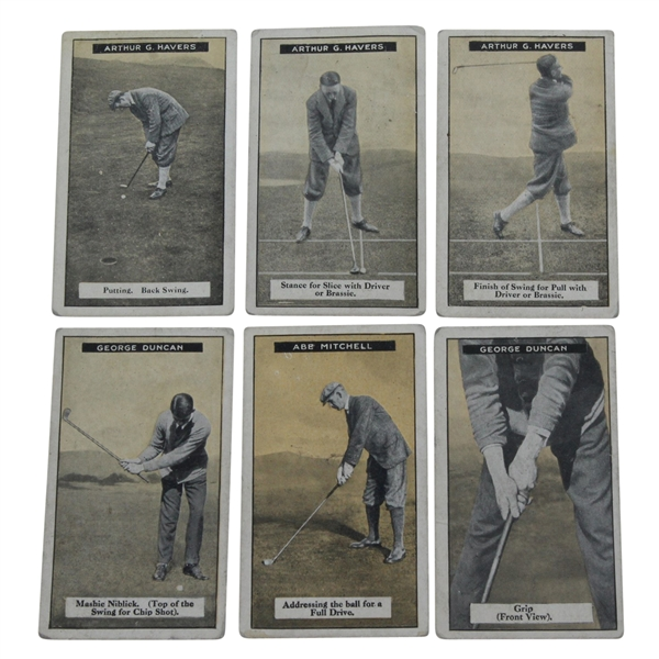 Six 1925 Imperial Tobacco Golf Cards - George Duncan(x2), Abe Mitchell, & Arthur Havers(x3)