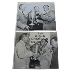 Two Ben Hogan with PGA Championship Trophy Wire Photos - 1946 & 1948