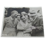 1935 A.P. Wire Photo of Craig Wood, Gene Sarazen, & Grantland Rice at Masters Tournament