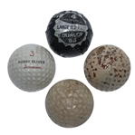 Four Classic Golf Balls - Porky Oliver, Top-Flite, Unamarked Mesh, & Dunlop 65 in Cover
