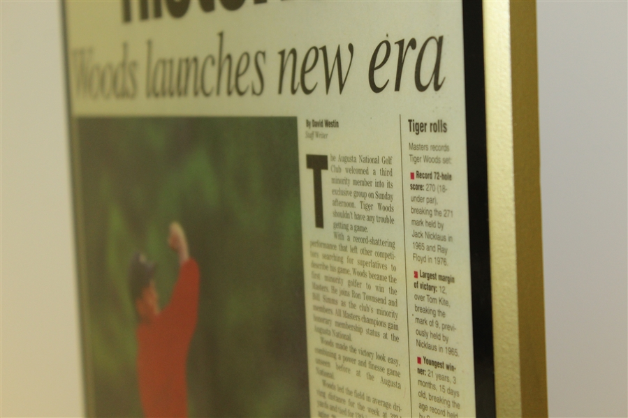 April 14, 1997 Augusta Chronicle Front Page Plaque - Tiger Woods Win