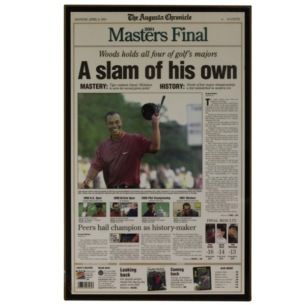 April 9, 2001 Augusta Chronicle Front Page Plaque - Tiger Woods Win