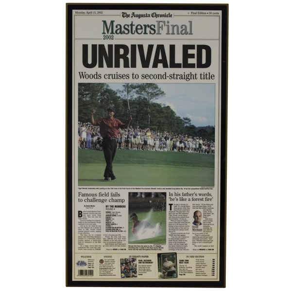 April 15, 2002 Augusta Chronicle Front Page Plaque - Tiger Woods Win
