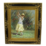 Vintage Impression Female Golfer Pre-Swing Oil on Canvas Painting - Framed