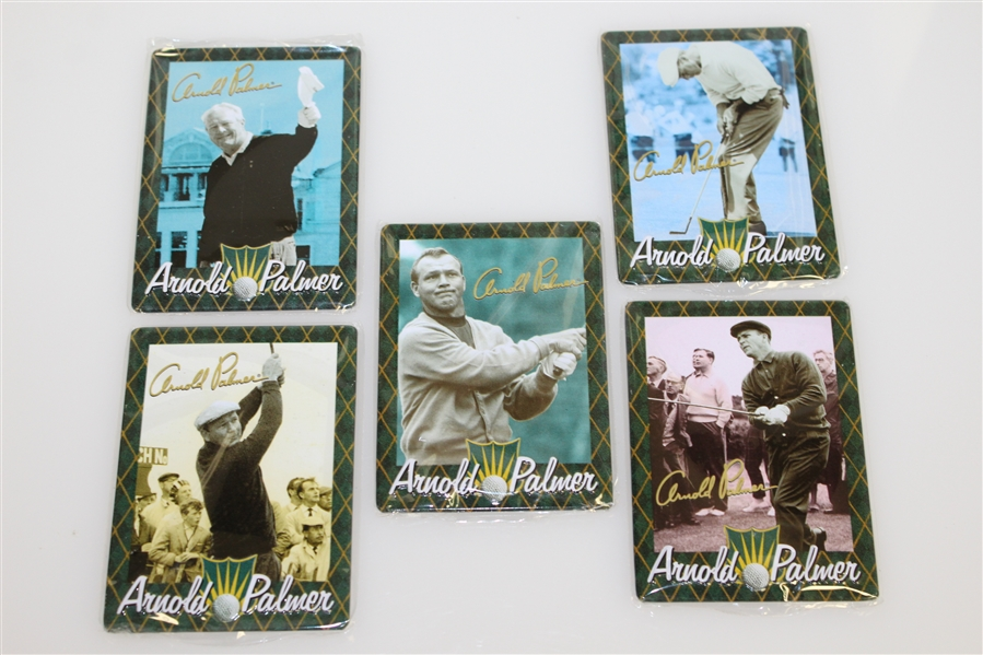 Arnold Palmer Complete Set of Five All-Metal Collector Cards in Original Tin