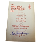 Max Faulkner Signed 1951 Open Championship at Portrush Program - Mon & Tues JSA ALOA