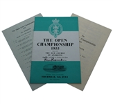 Peter Thomson Signed 1955 Open at St. Andrews Program with Thurs-Fri Pairing Sheets JSA ALOA