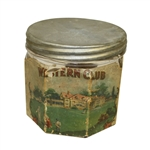 Western Club Glass Cigar Jar with Metal Lid
