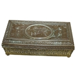 Ornate Metal Box - Golfers and Clubhouse