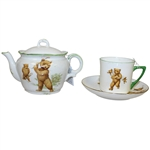 Golfing Bears Tea Pot, Cup, and Saucer