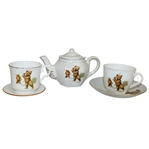 Golfing Bears Tea Pot, Two Cups, and Two Saucers