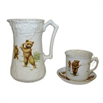 Golfing Bears Tea Cup, Saucer, and Pitcher