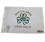 Brooks Koepka Signed 2017 US Open at Erin Hills Embroidered White Flag JSA ALOA