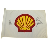 Phil Mickelson & Ernie Els Signed Shell World of Golf Match Used Flag JSA ALOA