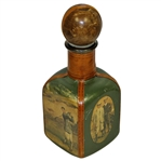 Vintage Fausto Conturi Italian Leather Wrapped Golf Themed Square Decanter with Stopper