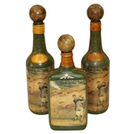 Vintage Fausto Conturi Italian Leather Wrapped Golf Themed Wine Bottles with Flask - Stopper