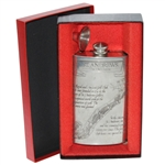 St. Andrews The Old Course Pewter Flask with Course Layout - Good Condition with Funnel & Box