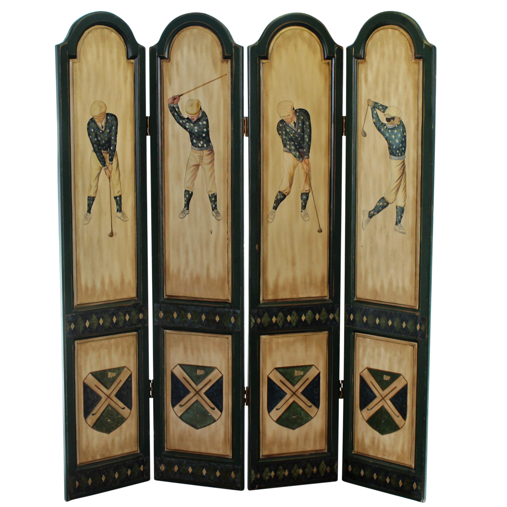 Lot Detail Classic Large Wooden Golf Themed Room Divider 4