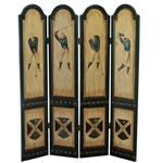 Classic Large Wooden Golf Themed Room Divider - 4 Panels - 6ft Tall!