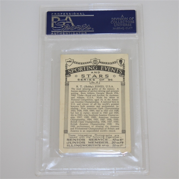 1935 R.T. (Bobby) Jones Sporting Events & Stars Cigarette Card #19 - J.A. Pattreuiouex PSA#14376131