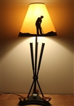Golfer Themed Lamp with Three Crossed Clubs & Golf Ball Display - Great Presentation