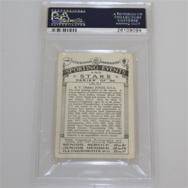 1935 R.T. (Bobby) Jones Sporting Events & Stars Cigarette Card #19 - J.A. Pattreuiouex PSA#26109094