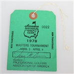 1978 Masters Tournament PGA Member Week Long Pass