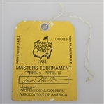 1981 Masters Tournament PGA Member Week Long Pass