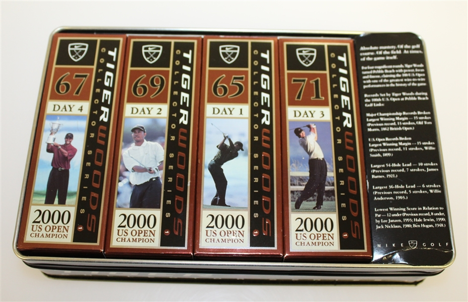 Tiger Woods Collector Series 2000 US Open Commemorative Golf Balls and Tin