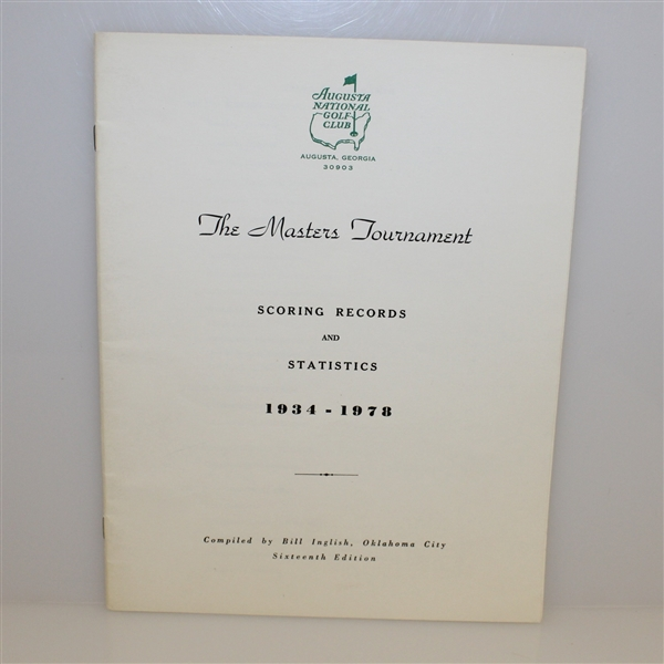 1978 Masters Tournament Scoring Records and Statistics Book