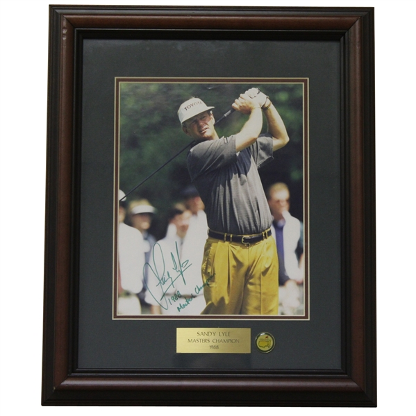 Sandy Lyle Signed Masters Shot Display with Notation - Framed JSA ALOA