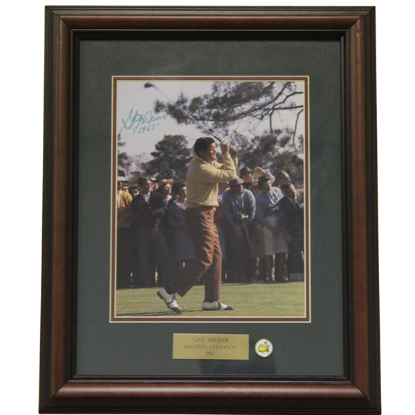 Gay Brewer Signed Masters Shot Display with Notation - Framed JSA ALOA