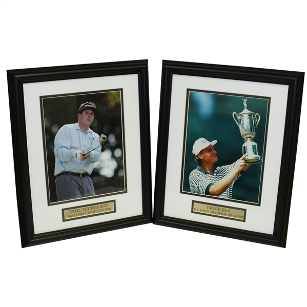 Phil Mickelson (2004 Masters) & Ernie Els (1994 & 1997 US Open) Photos - Framed - Al Kelley Collection