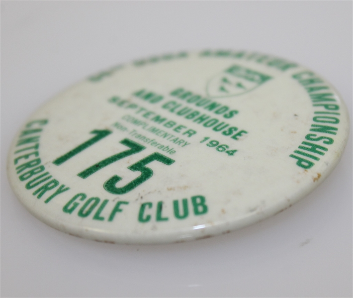 Deane Beman's 1964 US Amateur Championship Grounds & Clubhouse Badge-Canterbury G.C., Cleveland
