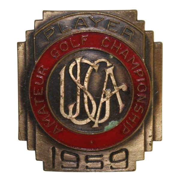 Deane Beman's 1959 US Amateur Championship Contestant Badge -  Jack Nicklaus Win!