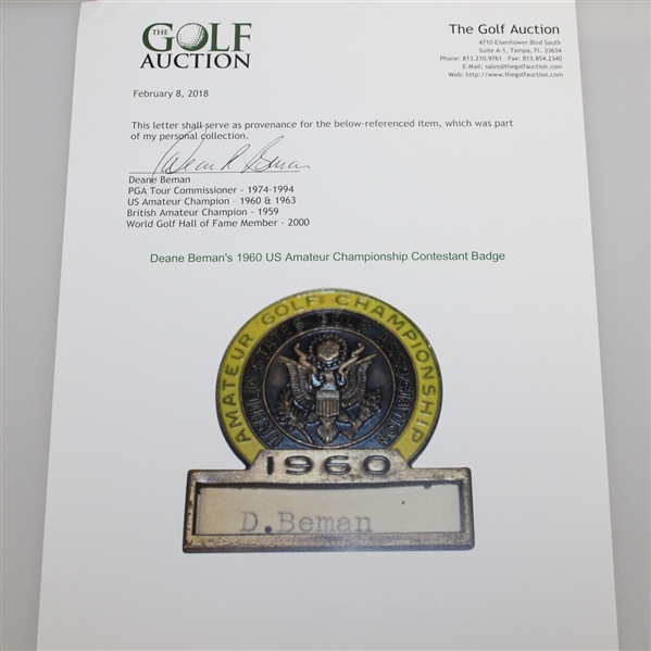 CHAMPION Deane Beman's 1960 US Amateur Championship Contestants Badge - Significant Opportunity!