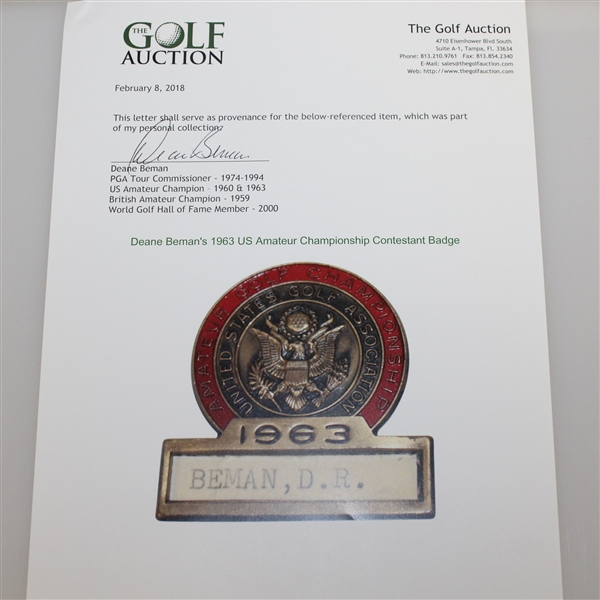 CHAMPION Deane Beman's 1963 US Amateur Championship Contestant Badge-Significant Opportunity!