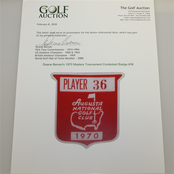 Deane Beman's 1970 Masters Tournament Contestant Badge #36 - Billy Casper Winner