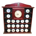 Golf Ball Display Rack with Clock and 19 Golf Balls
