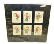 1930s Golf Cards Matted Display - Six Cards