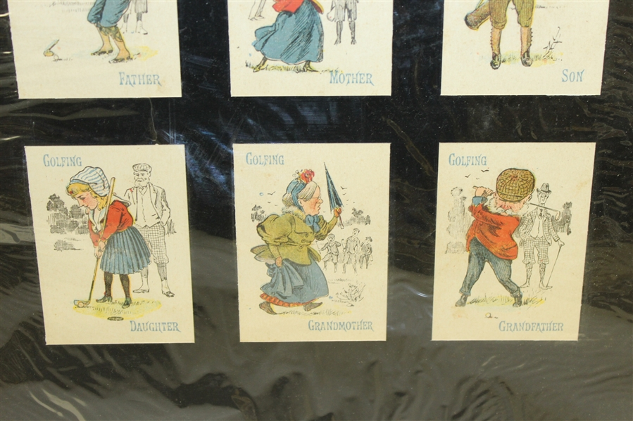 1930's Golf Cards Matted Display - Six Cards
